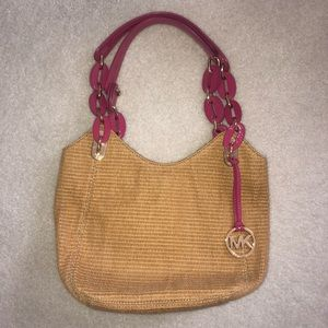 Michael Kors Straw Bag with Pink Link Handles
